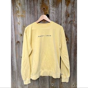 HAPPY CREW yellow crewneck sweater size small